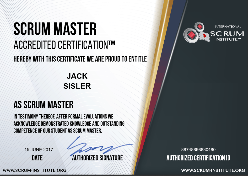Scrum-Institute.org-Scrum Master Jack Sisler